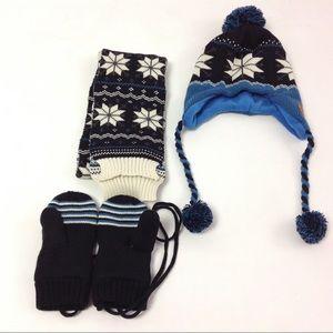 Kocotree Boys Kids 3 Piece Hat Gloves Scarf L Blue